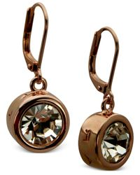 T Tahari - Pink 14k Rose Gold Bezel Crystal Signature Drop Earrings - Lyst
