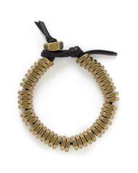 Giles & Brother - Metallic Brass Nut Leather Bracelet for Men - Lyst