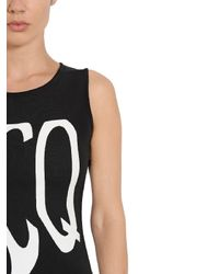 McQ - Black Logo Printed Heavy Cotton Jersey Dress - Lyst