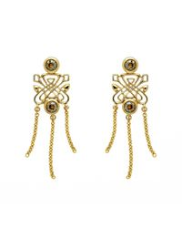 Biba | Metallic Gold Chain Drop Emblem Earrings | Lyst