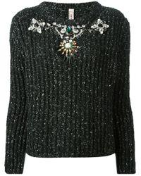 Antonio Marras - Black Embellished Shiny Ribbed Sweater - Lyst
