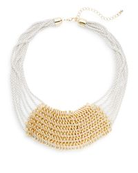 Cara | White Enameled Multi-chain Bib Necklace | Lyst