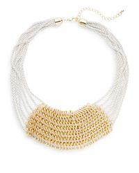 Cara - White Enameled Multi-chain Bib Necklace - Lyst