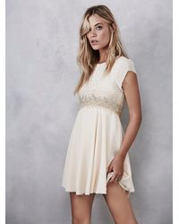 Free People | Natural Glitter Rock Babydoll Dress | Lyst