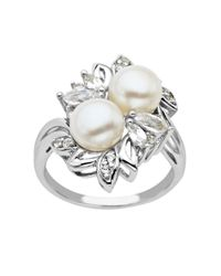 Lord & Taylor - Metallic Sterling Silver Pearl And White Topaz Ring - Lyst