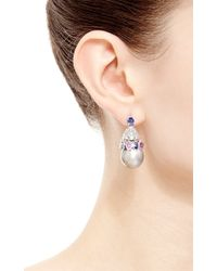 Gioia | Multicolor Tahitian Baroque Pearl, Pink And Blue Sapphire, And Diamond Earrings | Lyst