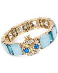 Betsey Johnson | Blue Gold-tone Owl Crystal Stone Stretch Bracelet | Lyst