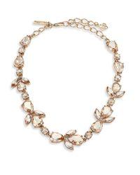 Oscar de la Renta - Red Floral Crystal & Resin Necklace - Lyst