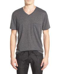 7 For All Mankind - Gray Raw Edge V-neck T-shirt for Men - Lyst