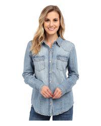 Stetson - Light Blue Denim Long Sleeve Western Shirt - Lyst