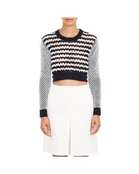 Thakoon - Blue Crochet Crop Sweater - Lyst