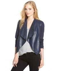 Kut From The Kloth | Blue 'lincoln' Faux Leather Drape Front Jacket | Lyst