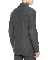 John Varvatos | Gray Two-button Jersey Sweater Jacket for Men | Lyst