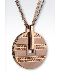 Emporio Armani - Metallic Steel Necklace With Rhinestones - Lyst