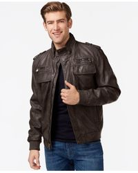 Calvin Klein | Brown Faux-leather Bomber Jacket for Men | Lyst