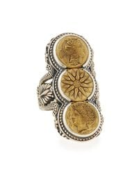Konstantino | Metallic Silver & Bronze Triple Coin Ring | Lyst