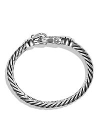 David Yurman | Metallic Cable Buckle Bracelet With Diamonds | Lyst