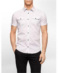 Calvin Klein - White Label Slim Fit Birdseye Dobby Short Sleeve Shirt for Men - Lyst