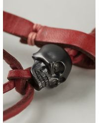 Alexander McQueen - Red Woven Skull Bracelet for Men - Lyst
