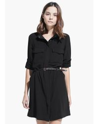 Mango - Black Belt Shirt Dress - Lyst