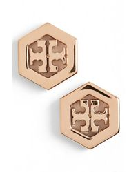 Tory Burch | Metallic Logo Hexagon Stud Earrings | Lyst