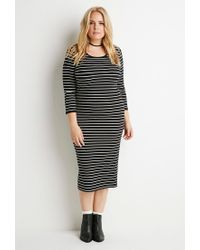 Forever 21 - Black Plus Size Ribbed Knit Stripe Dress - Lyst