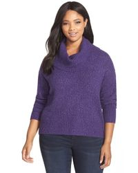 MICHAEL Michael Kors | Purple Cowl Neck Elliptical Hem Sweater | Lyst
