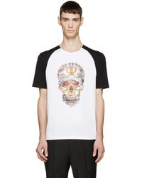 Alexander McQueen | White & Black Graphic Print T-shirt for Men | Lyst