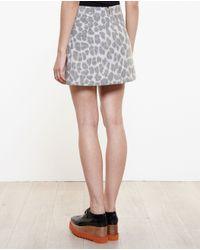 Stella McCartney - Gray Snow Leopard Print Skirt - Lyst