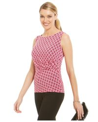 Jones New York - Pink Sleeveless Printed Drape Top - Lyst