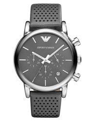 Emporio Armani | Watch, Men's Chronograph Gray Leather Strap 41mm Ar1735 for Men | Lyst
