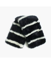 J.Crew - Blue Collection Faux-fur Striped Scarf - Lyst