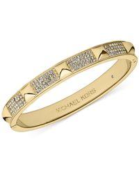 Michael Kors - Metallic Crystal Pavé And Pyramid Stud Hinge Bangle Bracelet - Lyst
