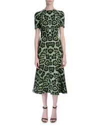 Givenchy - Green Short-sleeve Jaguar-print Dress - Lyst