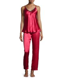 Oscar de la Renta - Red Charmeuse 3-piece Pajama Set - Lyst