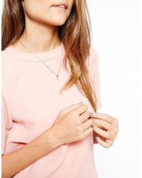 Orelia - Blue Delicate Stone and Disc Necklace - Lyst