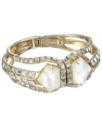 Alexis Bittar | Metallic Crystal Mosaic Hinged Bracelet With Mother Of Pearl Doublet | Lyst