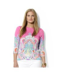 Lauren by Ralph Lauren   Pink Plus Three Quarter Sleeve Paisley Print Top   Lyst