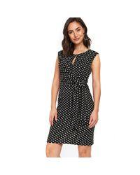 Wallis - Black Jersey Spot Tie Front Dress - Lyst