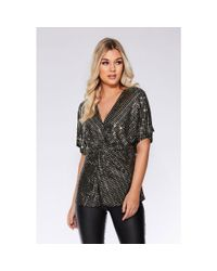 cbe3b935056002 Quiz Gold And Black Sequin Knot Front Top in Metallic - Lyst