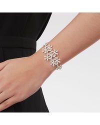 Lipsy - Metallic Silver Crystal Daisy Cluster Bracelet - Lyst