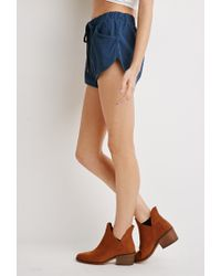 Forever 21 | Blue Twill Dolphin Shorts | Lyst
