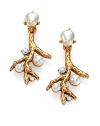 Oscar de la Renta - Metallic Swarovski Crystal Faux Pearl Coral Branch Clipon Earrings - Lyst