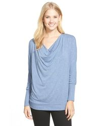 Gibson | Blue Cowl Neck Dolman Sleeve Top | Lyst