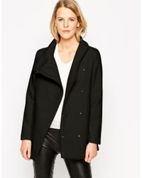 Mango | Black Straight Cut Coat With Funnel Neck | Lyst