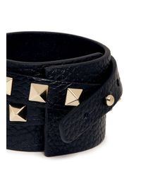 Valentino - Metallic 'Rockstud' Double Wrap Leather Bracelet - Lyst