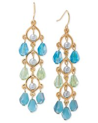 Carolee | Metallic Gold-tone Blue Beaded Linear Earrings | Lyst