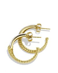 David Yurman | Yellow Labyrinth Hoop Earrings With Diamonds In Gold | Lyst