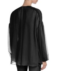 Givenchy - Black Tie-shoulder Bishop-sleeve Plisse Top - Lyst