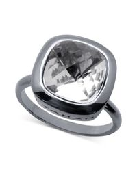 T Tahari - Metallic Silvertone Cushioncut Crystal Ring - Lyst